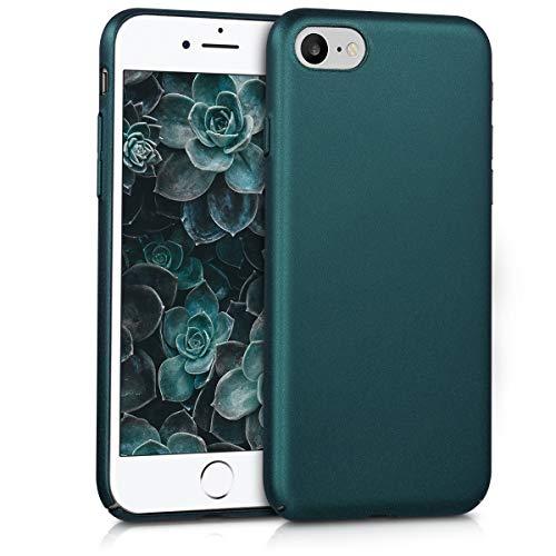 kwmobile Hülle kompatibel mit Apple iPhone 7/8 / SE (2020) - Handy Case Handyhülle - Anti-Rutsch Backcover Hardcover Cover Schutzhülle Metallic Petrol