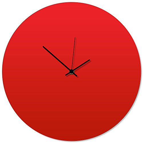Metal art studio contemporary clock 'redout black circle clock' by adam schwoeppe - original red kitchen clock minimalist wall decor on aluminum polymetal