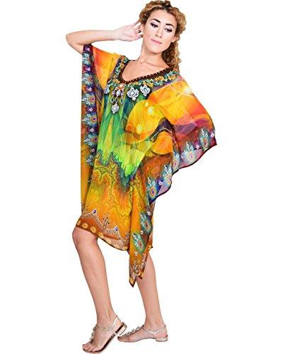 Bayside Barcelona españa Naranja Caftan de Las Mujeres de la Cristales embellecidos Elegante impresión Digital Kimono Ropa de Playa de Verano Vestido de Fiesta