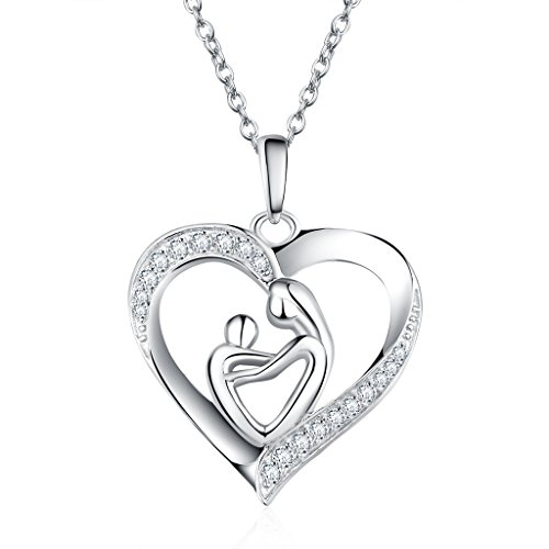 Necklaces 925 Sterling Silver 'Mother Holding Child Love Heart' Shape Zirconia Pendant Necklace