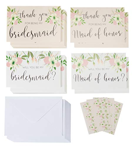 Bridal Party Request Kit, Bridesmaid Proposal and Thank You Cards (4 x 6 In, 24 Pack)