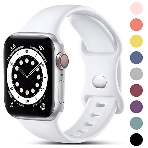 CeMiKa Compatible con Apple Watch Correa 38mm 42mm 40mm 44mm, Deportivas de Silicona Correas de Repuesto Compatible con iWatch SE Series 6 5 4 3 2 1, 42mm/44mm-S/M, Blanco
