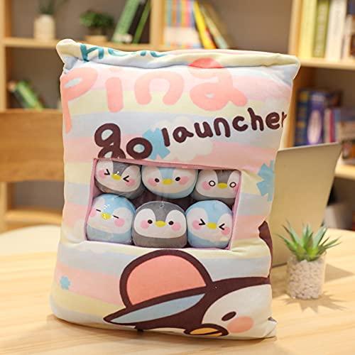 Tengke Bolsa de aperitivos creativa, cojines impresos con almohada de animales, una gran bolsa de muñecas pequeñas tiene 8 (pingüino, 50 x 40 cm)