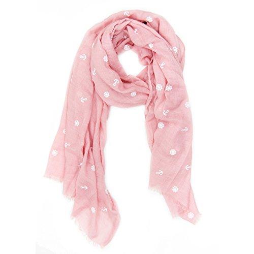 MANUMAR Schal für Damen | Hals-Tuch in rosa mit Anker Motiv als perfektes Herbst Winter Accessoire | Klassischer Damen-Schal | Stola | Mode-Schal | Geschenkidee Frauen und Mädchen