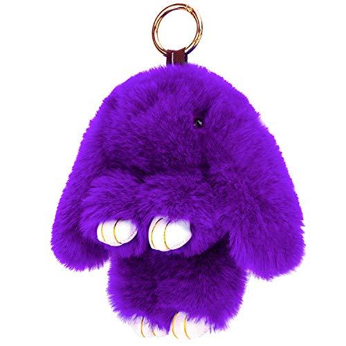 KEREDA Llavero de conejo, colgante de bolso, de peluche, para coche, llavero, bonito bolso, colgante, juguete, decoración de muñeca, violeta (Morado) - KED-CAB009310