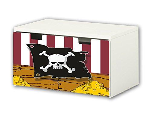 STIKKIPIX Piraten Möbelfolie | BT18 | Möbelaufkleber mit Piraten-Motiv | passend für die Kinderzimmer Banktruhe STUVA von IKEA (90 x 50 cm) Möbel Nicht Inklusive