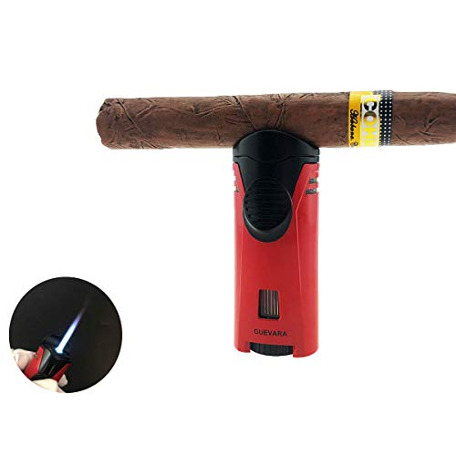 Cigar Lighter Torch with Cigar Stand Windproof Single Flame Butane Refillable High Quality Scorch Lighters (Without Gas)(Red)