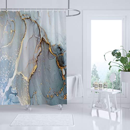 Sufancy Marmor-Duschvorhang, hellgrau, Steingrau, Granit, Heim, Badezimmer, Dekoration, Polyester-Stoff, wasserdicht, maschinenwaschbar, 183 x 198 cm, Set mit Haken