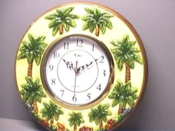 QUEEN PALM Tree Ceramic Gold Trimmed Wall ClockNEW