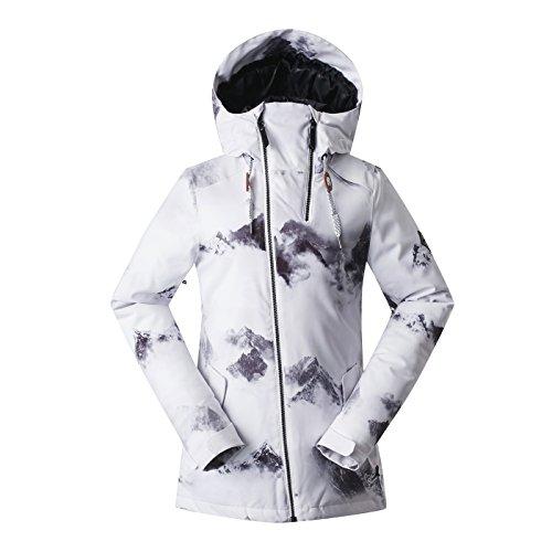 APTRO Damen Skijacke warm Jacke gefüttert Winter Jacke Outdoor Funktionsjacke Regenjacke Weiß 1801 S