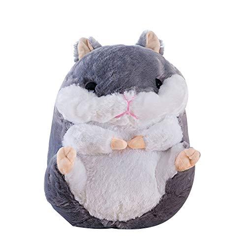 Kuizhiren1 Plüschtierpuppe, 40/50/60 cm, niedlicher sitzender Hamster, Plüschtier, Plüschtier, Stoffpuppenkissen, Grau, 40 cm