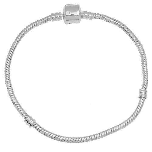 Beadaholique Silver Tone Threaded Snake Chain Bracelet With Snap Clasp Fits...