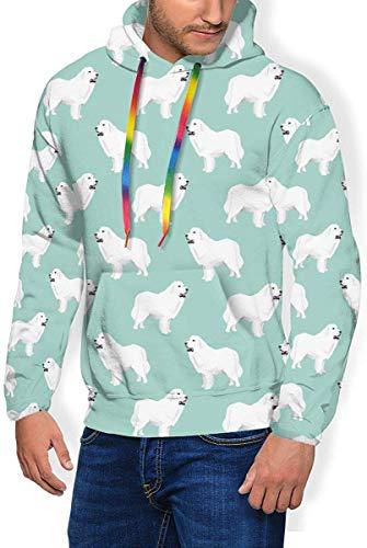 Witte Duitse Herder Mint Groen Mens & Jongens Lange mouwen Hoodies Pullover Sweatshirt Slim Tuniek Top Blouse