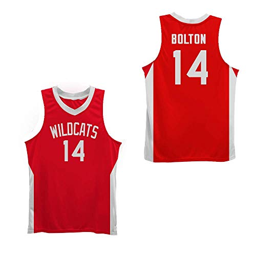 Zac E Troy Bolton 14 East High School Wildcats RedBasketball Jersey VN (Small)