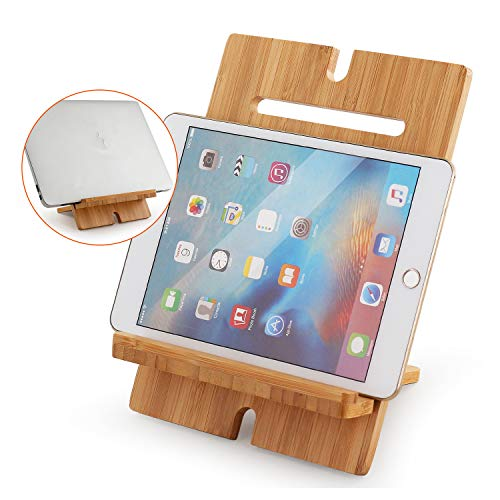 Cell Phone Tablet Stand Adjustable, Bamboo Desktop Smart Phone Stand Holder Dock Compatible with Pad Pro 9.7, 10.5, 12.9, Air 2 3 4 Mini, Kindle, Phone 8 Plus X XS Max XR (Support to 13' Devices)