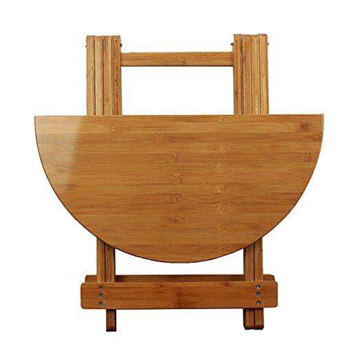 Table ronde pliante en bois de bambou - Table de salle à manger portable - Petit bureau rond - Dimensions : 80 x 70 cm