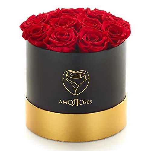 Amoroses 12 Rose Stabilizzate Vere durano Anni - Idea Regalo per Lei Originale Elegante Bouquet per Anniversario e Altre Occasioni Speciali (Scatola Nera con Rose Rosse)
