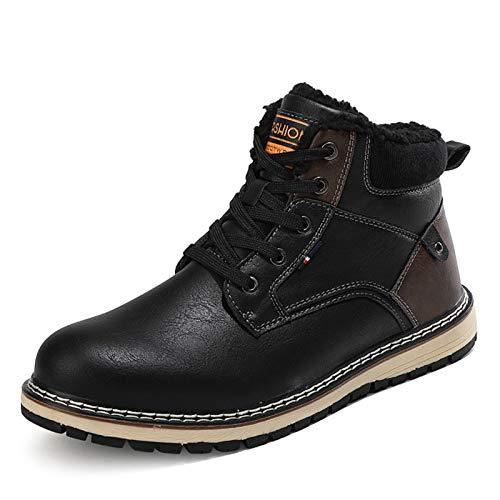 Q-YR Zapatillas De Senderismo Al Aire Libre Hombre Cálido Y Terciopelo Botas De Nieve Espesas Ocio De Invierno Zapatos De Algodón Antideslizante A Prueba De Agua,C,45