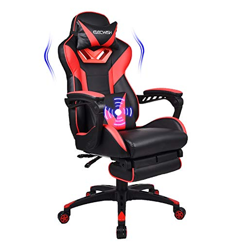 Fullwatt Gaming Chair Massage Office Chair with Footrest and Massage Lumbar Support High Back computer Gamer Chair Swivel Reclining PU Leather Video Game Chair Sports Racing Chair Large Size(Red)