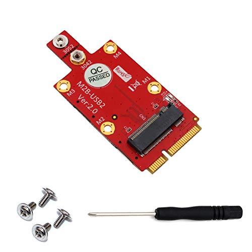 GUMEI Convertidor de Adaptador M.2 Key B a Mini PCI-E con Ranura para Tarjeta Dual Nano SIM para 3G / 4G
