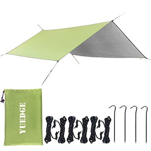 YUEDGE Lona Rainfly Portátil Ligero Impermeable Tarpaulin Cubierta de la Lluvia Tienda de Campaña Parasol Refugio para Camping Senderismo Playa Picnic (L, Verde Militar)