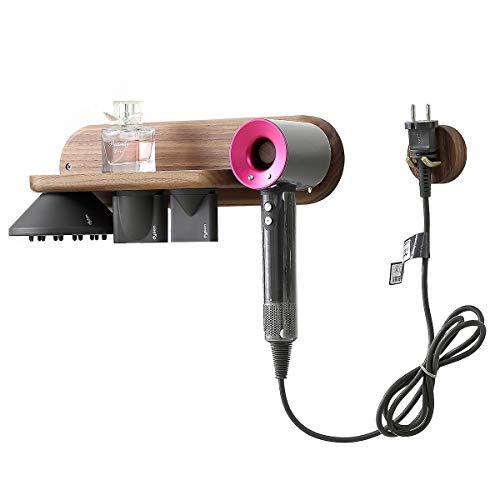 Ideko® Soporte de pared para Dyson Supersonic para secador de pelo de pared para Dyson Soporte de madera marrón oscuro