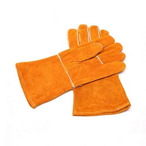 JIE KE lederen machines industrie lasser handschoenen lassen bescherming slijtvast hoge temperatuur lassen lange steun isolatie handschoenen