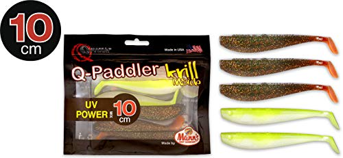 Quantum Q-Paddler Packs UV Power Mix, 3X Magic motorolie + 2X Citrus shad, 10 cm
