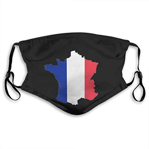 Franse kaart en vlag unisex anti-vervuiling masker stofmasker met filter masker Small Veelkleurig