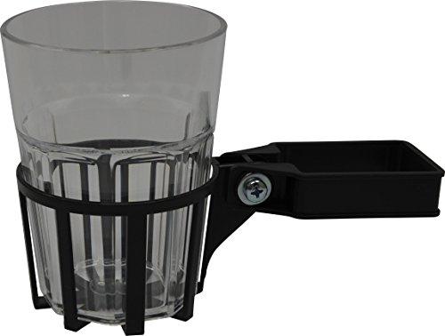 Angerer Getränkehalter für Hollywoodschaukel Vierkant eisengrau, inkl. Becher transparent, 980/0003