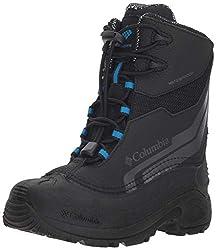 Columbia Youth Bugaboot Plus IV Omni-Heat Snow Boot, Black/Hyper Blue, 3 US Unisex Big Kid