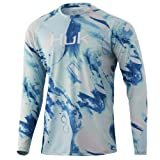 HUK Men's Pattern Pursuit Long Sleeve Performance Fishing Shirt, Seafoam-Lava, XX-Large