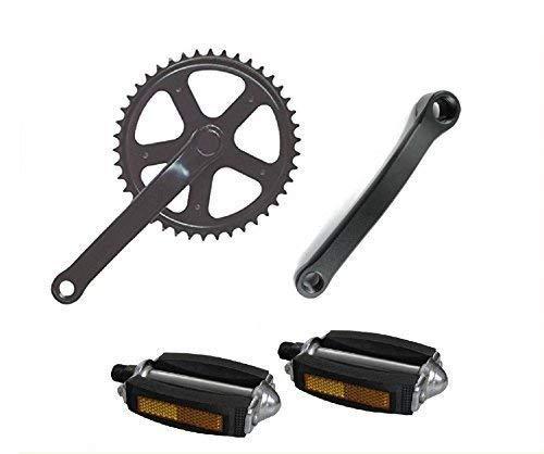 Ciclosport GUARNITURA + Pedali per Bicicletta Tipo Classico - City Bike - Olanda - Scatto Fisso/PEDIVELLA Compresa (42 Denti)