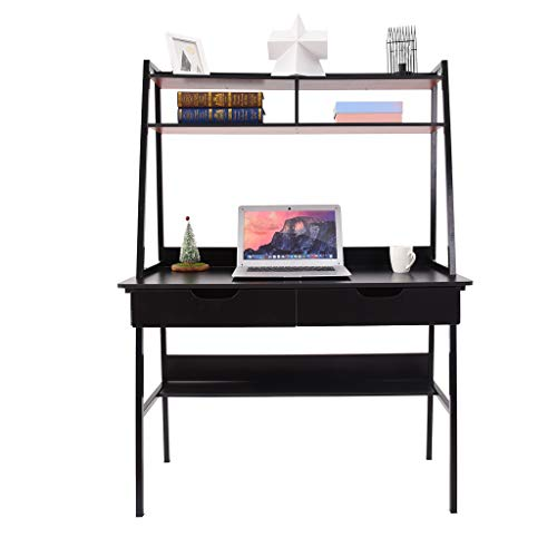 Sentmoon Multi-Functional Students Study Computer Desk Laptop PC Table Workstation with 2 Drawers Bookshelf for Home Office (Black)