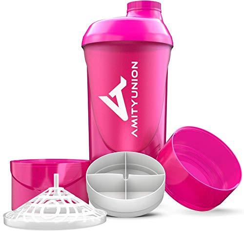 Frauen Protein Shaker 700 ml Set - ORIGINAL von AMITYUNION – Deluxe Eiweiss Shaker auslaufsicher - BPA frei mit Sieb und Skala für Cremige Whey Shakes, Gym Fitness Becher für Konzentrate in Pink Cup
