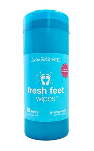 Fresh Feet Wipes - Peppermint Wet Wipes in Resealable Canister - 45 foot, hand, body non-toxic wipes | by Jasmine Seven