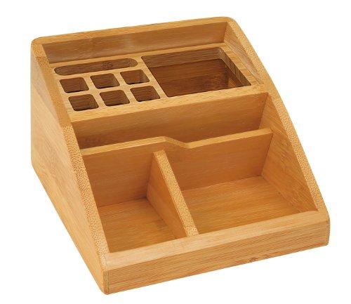 Wedo 61507 Butler bambou, 3 compartiments, insert pour stylo, dimensions 15,4 x 12,3 x 9 cm, dans une boîte cadeau, marron