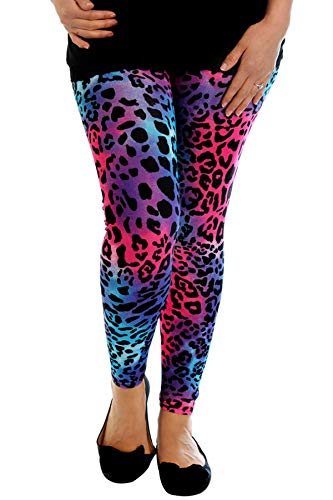 Ladies Plus Size Neon Leopard Print 80s Leggings, Sizes 12 to 26