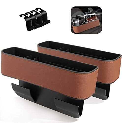 Jeteven Car Seat Gap Filler, 2 Pack Multifunctional Car Seat Organizer, Console Side Pocket Storage Box with Cup Holder, Upgraded Organizer Between Front Seats for Cellphones, Wallets (Brown)