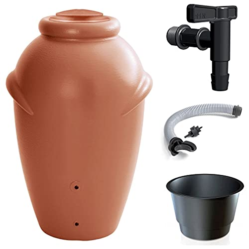 Primegarden 210 litros Aqua Can pluvia, depósito de agua de lluvia con grifo y conexión (terracota)