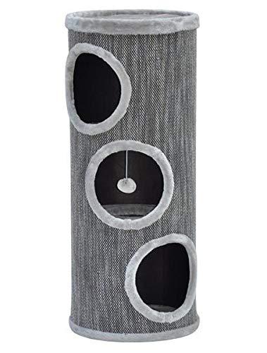 nanook Katzen Kratztonne/Kratzbaum Tower 100 - XL 40 cm Ø - mit großen Öffnungen - Höhe 100 cm - grau - stabil