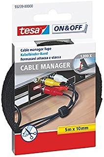tesa On&Off Universal Kabelbinders - Slimme en herbruikbare kabelclips met klittenband - Kabelklemmen tot 1000 keer te ope...