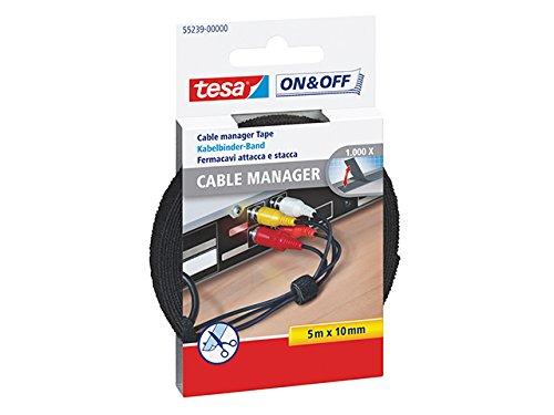 tesa Kabelbinder Klett / On & Off Kabel Klettband in Schwarz / Individuell zuschneidbar / 1 x 5m Rolle