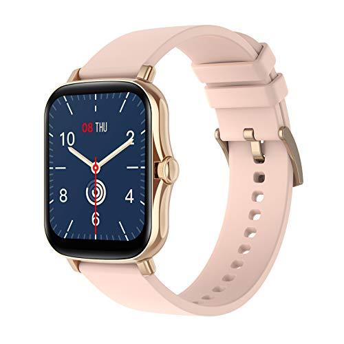 HQPCAHL Smartwatch Mujer Hombre, Reloj Inteligente Pantalla Táctil Completa, Pulsera Impermeable IP67 De Monitor De Sueño Contador De Caloría Pulsómetros Podómetro para Android iOS,Oro