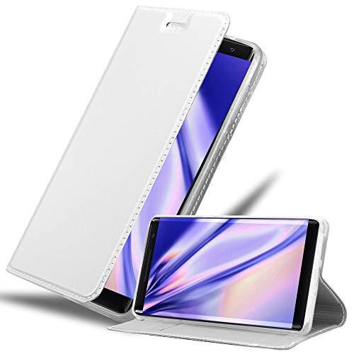 Cadorabo Hülle für Nokia 8 Sirocco in Classy Silber – Handyhülle mit Magnetverschluss, Standfunktion & Kartenfach – Hülle Cover Schutzhülle Etui Tasche Book Klapp Style