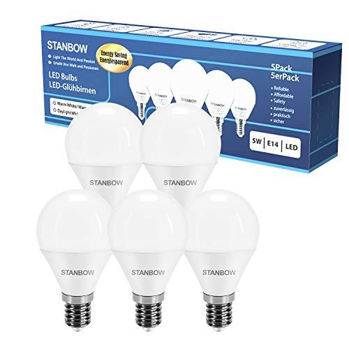 E14 LED Lampe Warmweiss, STANBOW 5W Glühbirne Ersetzt 40W Glühlampe, Tropfenform P45 Leuchtmittel, 160° Abstrahlwinkel, CRI>80, 400 Lumen 3000 Kelvin Warmweiß, 220-240V AC, 5 Stück [Energieklasse A+]