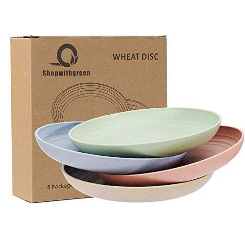 shopwithgreen Lightweight Wheat Straw Plates - 4 Pack 7.8' Unbreakable Dinner Plates, Dishwasher & Microwave Safe, Healthy for Boys and Girls & Adult