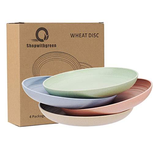 Shopwithgreen Platos ligeros de paja de trigo - 4 paquetes de platos irrompibles de 7.8 ', aptos para lavavajillas y microondas, saludables para niños, niños