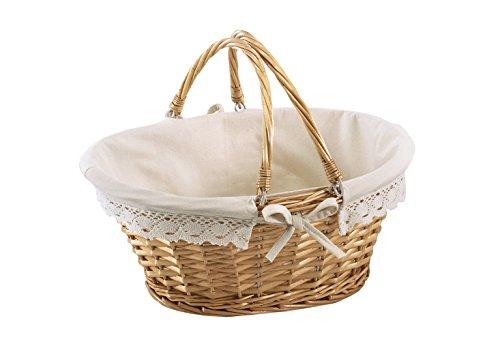 Kobolo Klappbügelkorb - Weidenkorb mit Klapphenkeln und Textilfutter