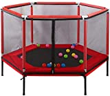 MQIQI Indoor Kids Hexagon Trampolin mit Sicherheitskabine Netting und Sprungmatte Regen-Abdeckung,...